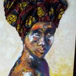 Création  PatdelMuro -  Africaine - peinture et tissu