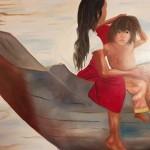 Jeunes filles sur le bateau - Cambodge